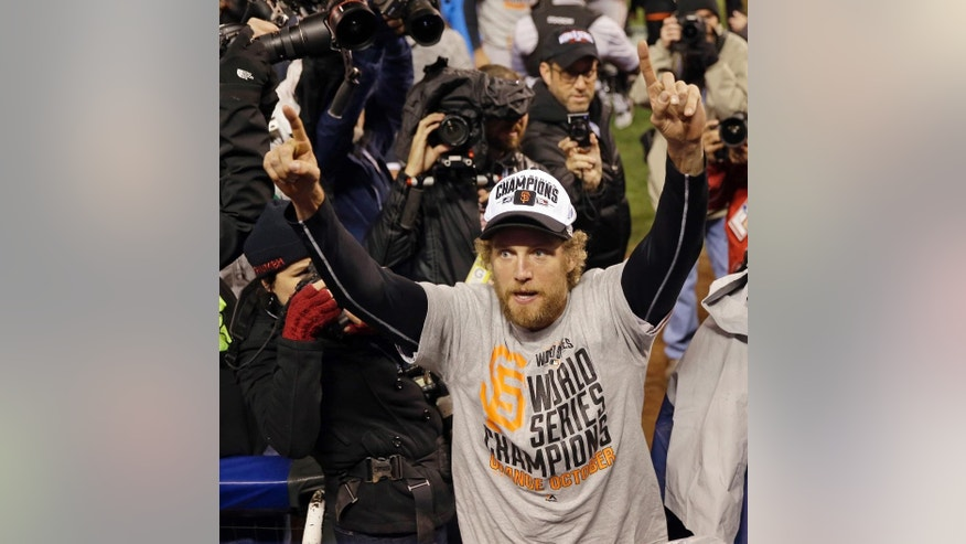 San Francisco Giants Hunter Pence celebrates after Game 7 of baseball's World Series against the Kansas City Royals Wednesday, Oct. 29, 2014, in Kansas City, Mo. The Giants won 3-2 to win the series. (AP Photo/Matt Slocum)