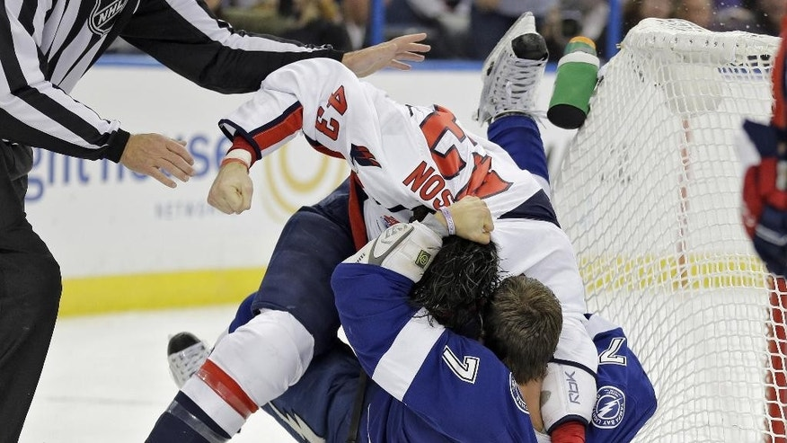 Washington Capitals right wing Tom Wilson (43) punches Tampa Bay Lightning defenseman Radko Gudas (7), of the Czech Republic, during a fight in the first period of an NHL hockey game Saturday, Nov. 1, 2014, in Tampa, Fla. (AP Photo/Chris O'Meara)