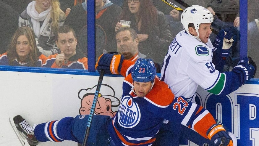 Vancouver Canucks' Derek Dorsett (51) brushes off a check from Edmonton Oilers' Matt Hendricks (23) during the second period of an NHL hockey game Saturday, Nov. 1, 2014, in Edmonton, Alberta. (AP Photo/The Canadian Press, Amber Bracken)