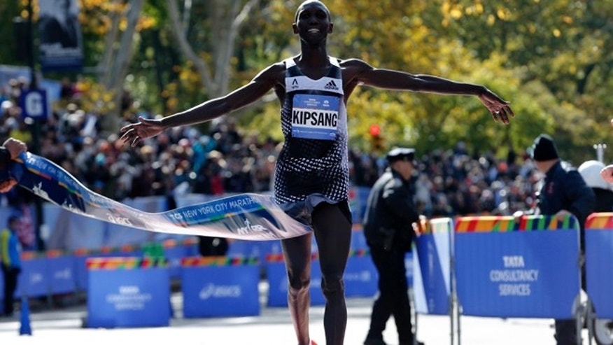 Nov. 2, 2014: Wilson Kipsang of Kenya crosses the finish line to win the men's professional division of the 2014 New York City Marathon in Central Park in Manhattan. (Reuters)