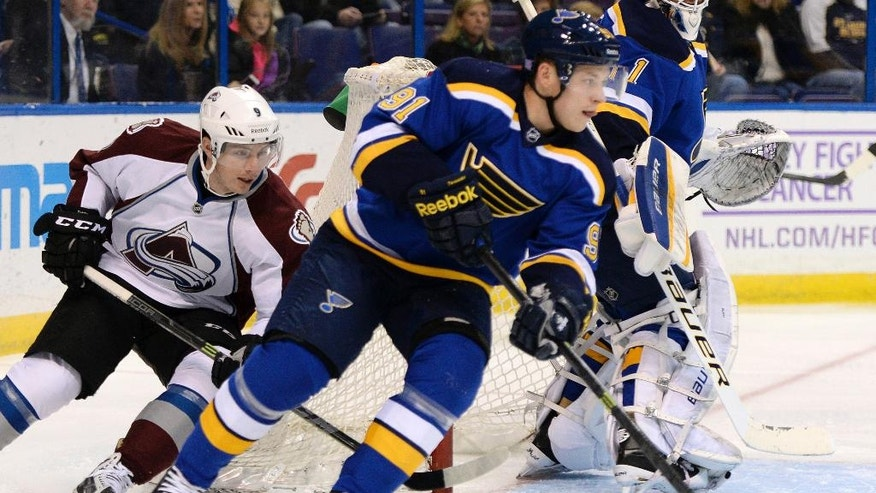 St. Louis Blues' Vladimir Tarasenko (91), of Russia, skates past Colorado Avalanche's Matt Duchene (9) during the first period of an NHL hockey game, Saturday, Nov. 1, 2014, in St. Louis. (AP Photo/Bill Boyce)