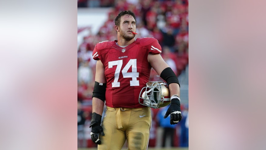 San Francisco 49ers offensive tackle Joe Staley (74) stands on the field after a replay confirmed that the 49ers lost a fumble against the St. Louis Rams during the fourth quarter of an NFL football game in Santa Clara, Calif., Sunday, Nov. 2, 2014. The Rams won 13-10. (AP Photo/Marcio Jose Sanchez)
