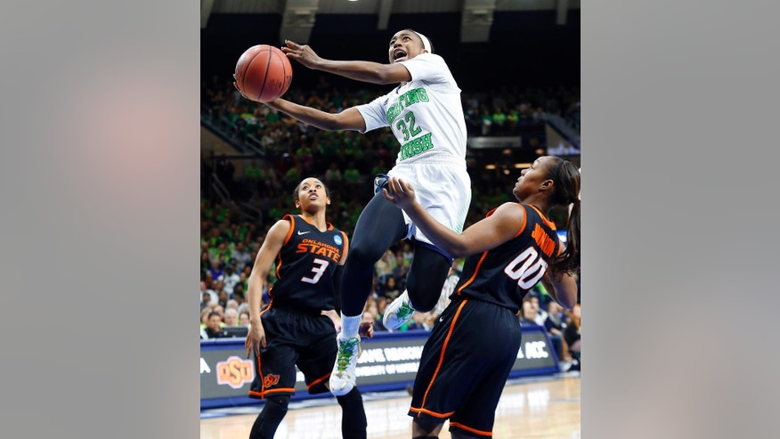 FILE - In this March 29, 2014, file photo, Notre Dame guard Jewell Loyd (32) drives between Oklahoma State guard Tiffany Bias (3) and Roshunda Johnson (00) during the first half of a regional semifinal in the NCAA college basketball tournament at the Purcell Pavilion in South Bend, Ind. Loyd has been selected to The Associated Press' preseason All-America team Tuesday, Nov. 4, 2014. (AP Photo/Paul Sancya, File)