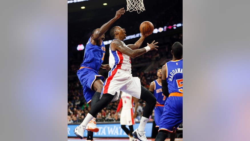Detroit Pistons guard Kentavious Caldwell-Pope (5) drives against the New York Knicks in the second half of an NBA basketball game in Auburn Hills, Mich., Wednesday, Nov. 5, 2014.  (AP Photo/Paul Sancya)