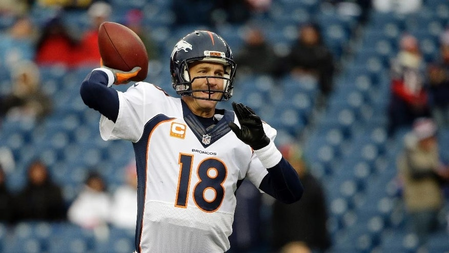 Denver Broncos quarterback Peyton Manning warms up before an NFL football game against the New England Patriots on Sunday, Nov. 2, 2014, in Foxborough, Mass. (AP Photo/Steven Senne)