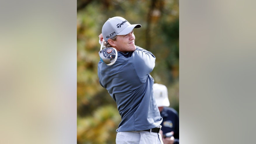 Sebastian Cappelen of Denmark, watches his drive on the ninth tee of the Country Club of Jackson during the first round of the Sanderson Farms Championship golf tournament on Thursday, Nov. 6, 2014, in Jackson, Miss. (AP Photo/Rogelio V. Solis)