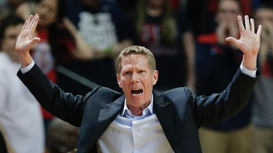 FILE - In this March 8, 2014, file photo, Gonzaga coach Mark Few motions to a referee in the second half of an NCAA college basketball game against Santa Clara in the quarterfinals of the West Coast Conference tournament in Las Vegas. Gonzaga has won 80 percent of its games in 15 seasons under coach Mark Few. But hopes are higher than normal for this team, which boasts several returning starters and some intriguing newcomers. (AP Photo/Julie Jacobson, File)