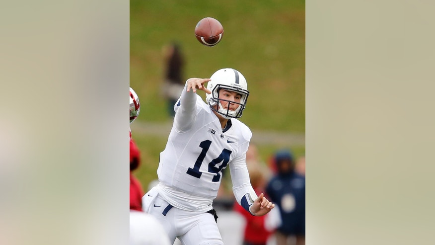 Penn State quarterback Christian Hackenberg (14) throws in first half an NCAA college football game in Bloomington, Ind., Saturday, Nov. 8, 2014. (AP Photo / Sam Riche)