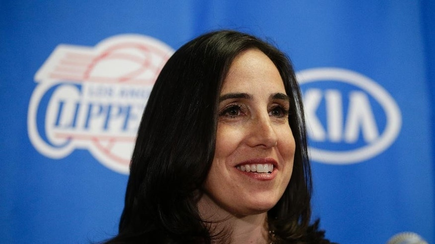 Los Angeles Clippers' new president of business operations Gillian Zucker speaks during a news conference held before an NBA basketball game against the Portland Trail Blazers Saturday, Nov. 8, 2014, in Los Angeles. (AP Photo/Jae C. Hong)