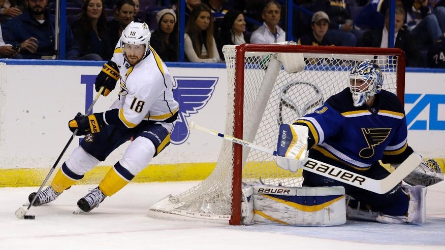 Nashville Predators' James Neal, left, controls the puck as St. Louis Blues goalie Brian Elliott defends during the third period of an NHL hockey game Saturday, Nov. 8, 2014, in St. Louis. The Predators won 2-1. (AP Photo/Jeff Roberson)
