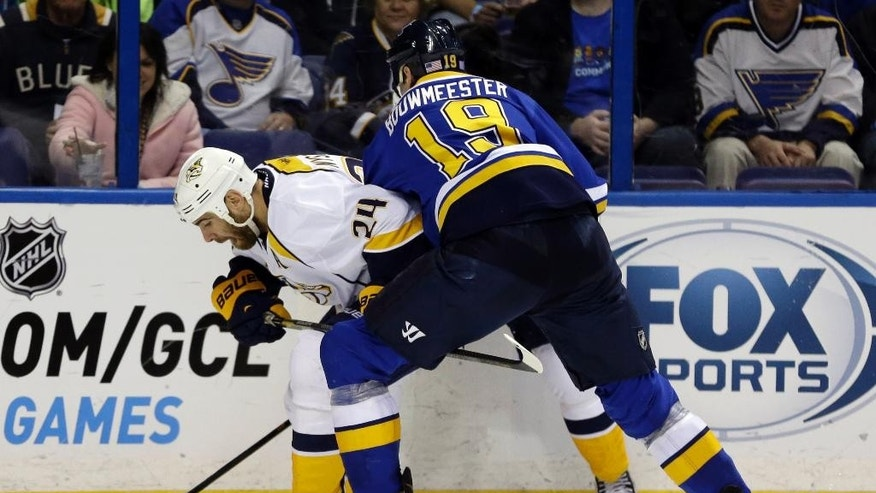 Nashville Predators' Eric Nystrom, left, becomes entangled with St. Louis Blues' Jay Bouwmeester along the boards during the third period of an NHL hockey game Saturday, Nov. 8, 2014, in St. Louis. The Predators won 2-1. (AP Photo/Jeff Roberson)