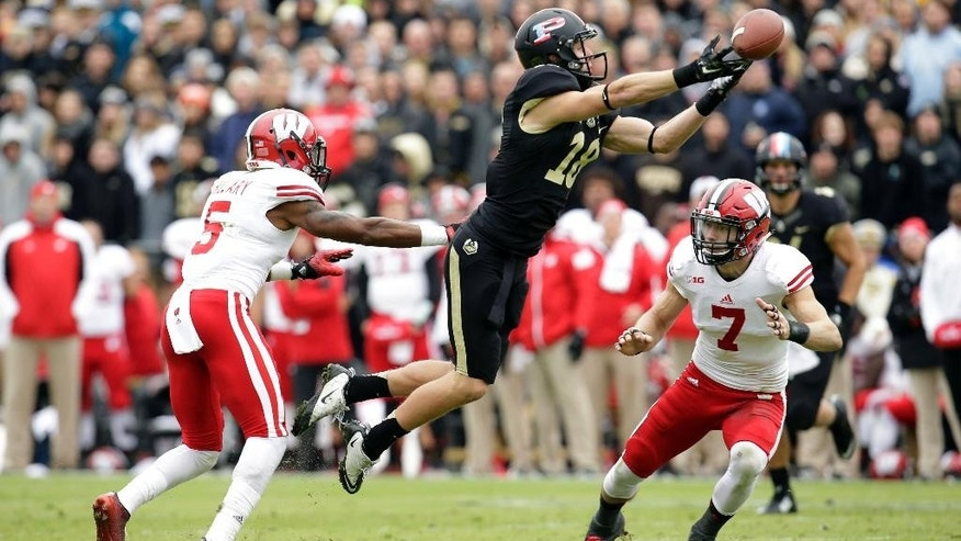 Purdue wide receiver Cameron Posey (18) comes up short of catching a pass between Wisconsin defenders Tanner McEvoy, (5) and Michael Caputo during the first half of an NCAA college football game in West Lafayette, Ind., Saturday, Nov. 8, 2014. (AP Photo/AJ Mast)