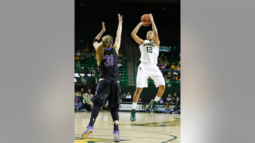 Baylor's Alexis Prince (12) shoots over Tarleton State Karli Moore (31) in the first half of an NCAA college exhibition basketball game, Tuesday, Nov. 10, 2014, in Waco, Texas. (AP Photo/Waco Tribune Herald, Richard Hirst)