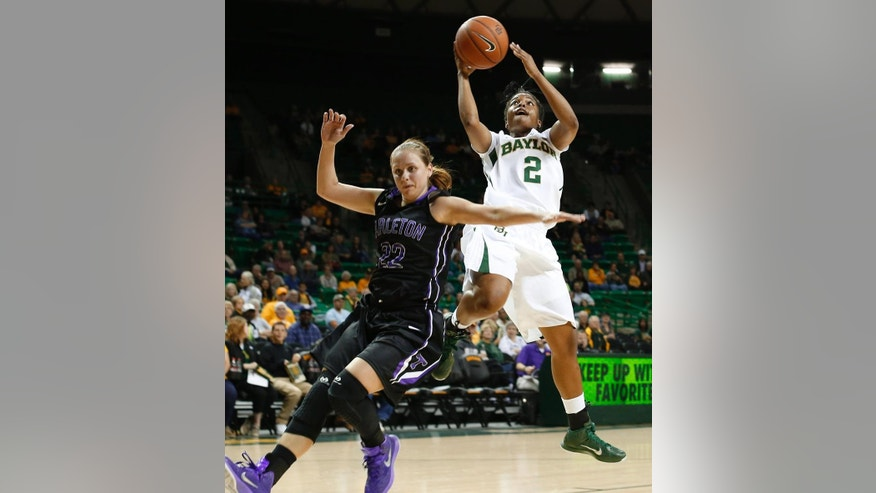 Baylor's Niya Johnson (2)  shoots over Tarleton State Bailey Wipff (22)  in the first half of an NCAA college exhibition game, Tuesday, Nov. 10, 2014, in Waco, Texas. (AP Photo/Waco Tribune Herald, Richard Hirst)