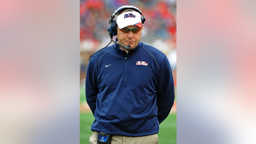 Mississippi head coach Hugh Freeze paces the sideline during the second half of an NCAA college football game against Presbyterian in Oxford, Miss., Saturday, Nov. 8, 2014. No. 12 Mississippi won 48-0.  (AP Photo/Thomas Graning)