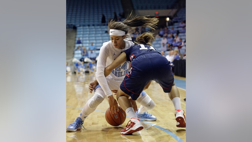North Carolina's Jessica Washington (24) and Howard's Allese Morrison (11) struggle for possession of the ball during the first half of an NCAA college basketball game in Chapel Hill, N.C., Friday, Nov. 14, 2014. (AP Photo/Gerry Broome)
