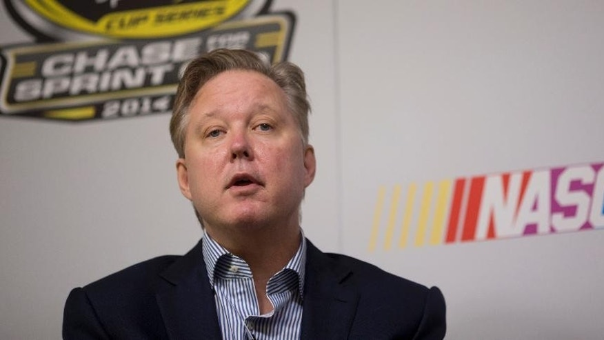 NASCAR chairman Brian France talks to the media about the new Chase for the Sprint Cup championship format Friday, Nov. 14, 2014, in Homestead, Fla. (AP Photo/J Pat Carter)