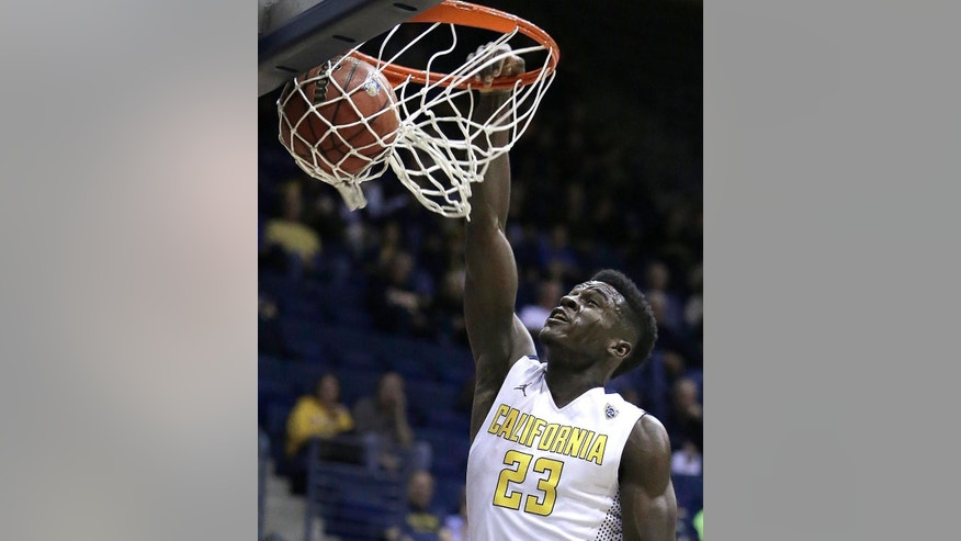 California's Jabari Bird scores against Alcorn State in the first half of an NCAA college basketball game Friday, Nov. 14, 2014, in Berkeley, Calif. (AP Photo/Ben Margot)