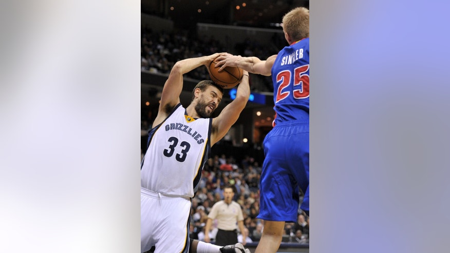 Memphis Grizzlies center Marc Gasol (33) and Detroit Pistons forward Kyle Singler (25) struggle for control of the ball in the first half of an NBA basketball game Saturday, Nov. 15, 2014, in Memphis, Tenn. (AP Photo/Brandon Dill)