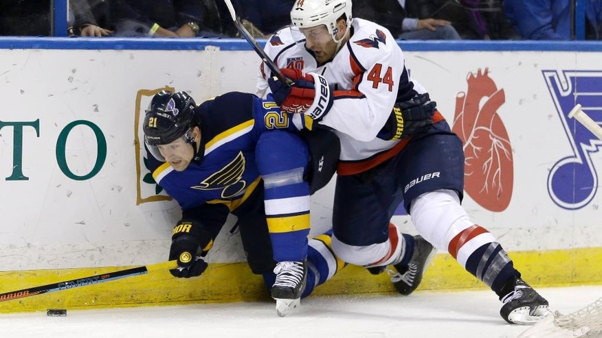 St. Louis Blues' Patrik Berglund, of Sweden, is pushed against the boards by Washington Capitals' Brooks Orpik, right, during the second period of an NHL hockey game Saturday, Nov. 15, 2014, in St. Louis. (AP Photo/Jeff Roberson)