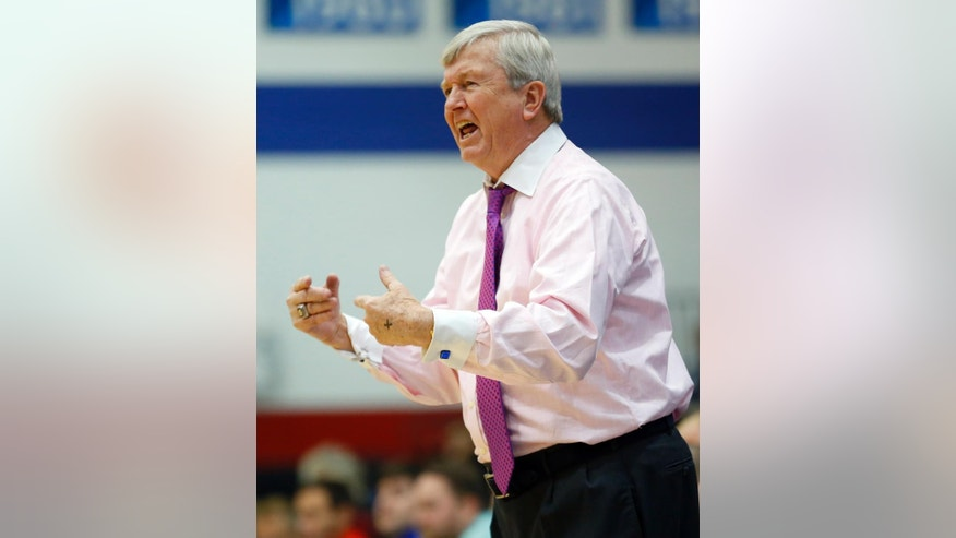 Texas A&M Aggies head coach Gary Blair yells out instructions to his team during the second half of an NCAA women's college basketball game against the New Mexico Lobos at McGrath-Phillips Arena in Chicago, on Saturday Nov. 15, 2014. The Aggies won 66-52. (AP Photo/Jeff Haynes)