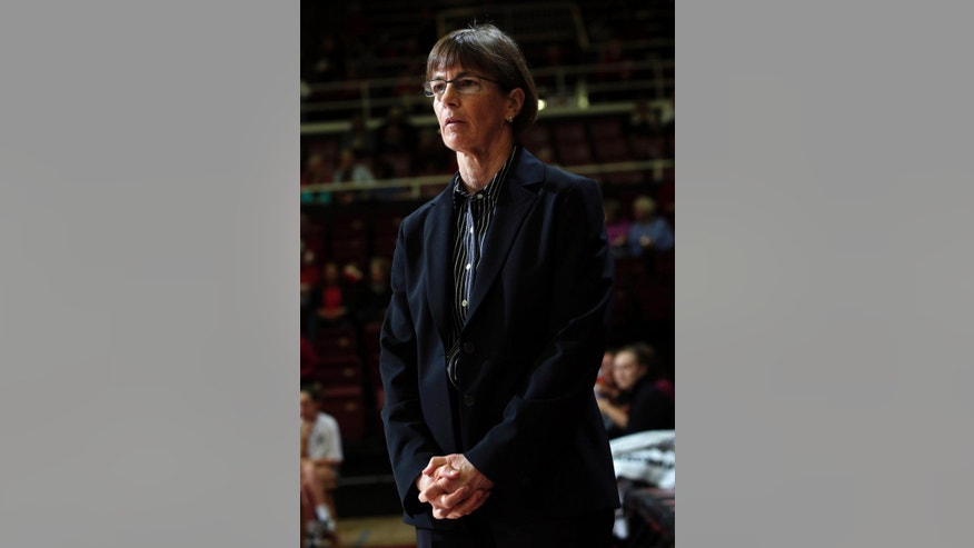 Stanford head coach Tara VanDerveer watches her team warm up before an NCAA college basketball game against Boston College, Friday, Nov. 14, 2014, in Stanford, Calif. (AP Photo/Marcio Jose Sanchez)
