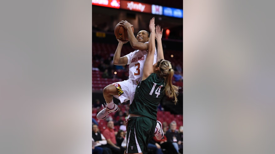 Maryland guard Brene Moseley (3) drives to the basket as Wagner guard Lynsay Rowe defends during the first half of an NCAA college basketball game Sunday, Nov. 16, 2014, in College Park, Md. (AP Photo/Gail Burton)