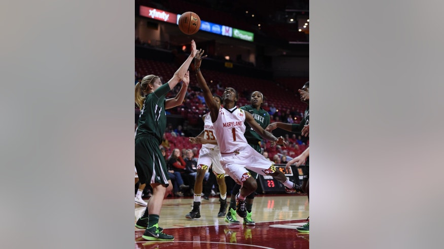 Maryland guard Laurin Mincy, right, shoots as Wagner guard Lyndsay Rowe blocks during the first half of an NCAA college basketball game Sunday, Nov. 16, 2014, in College Park, Md. (AP Photo/Gail Burton)