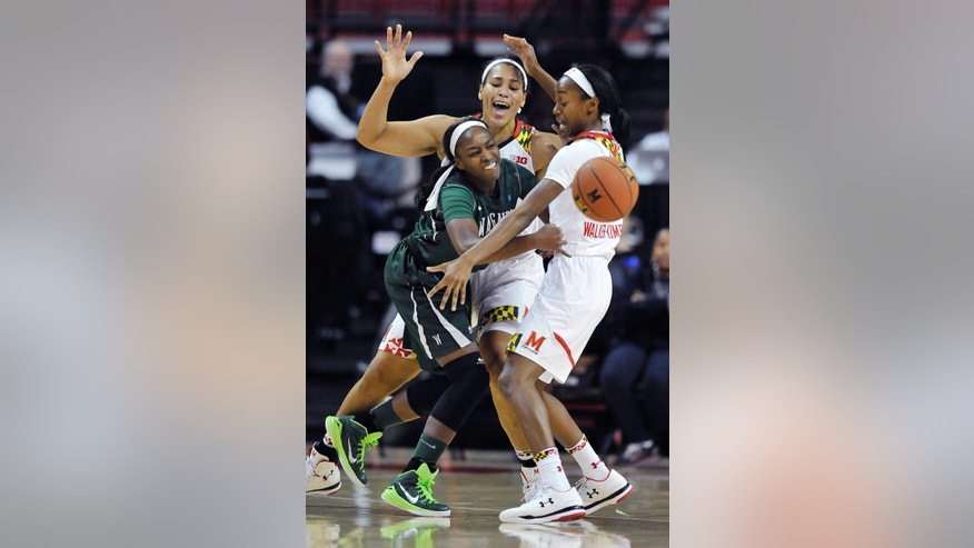 Wagner guard Maria Conyers-Jordan, left, is double teamed by Maryland center Brionna Jones, back, and forward Shatori Walker-Kimbrough during the first half of  an NCAA college basketball game Sunday, Nov. 16, 2014 in College Park, Md. (AP Photo/Gail Burton)