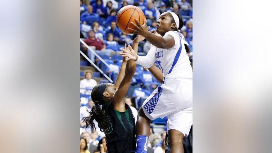 Kentucky's Linnae Harper, right, shoots over Baylor's Nina Davis during the first half of an NCAA college basketball game, Monday, Nov. 17, 2014, in Lexington, Ky. (AP Photo/James Crisp)