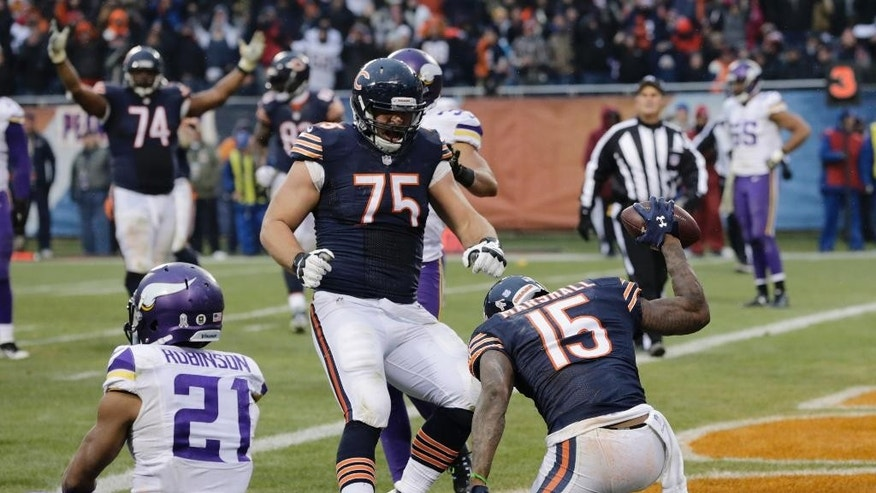 Chicago Bears wide receiver Brandon Marshall (15) spikes the ball as he celebrates his touchdown reception with teammates during the second half of an NFL football game against the Minnesota Vikings Sunday, Nov. 16, 2014 in Chicago. At left is Minnesota Vikings cornerback Josh Robinson (21).  (AP Photo/Charles Rex Arbogast)