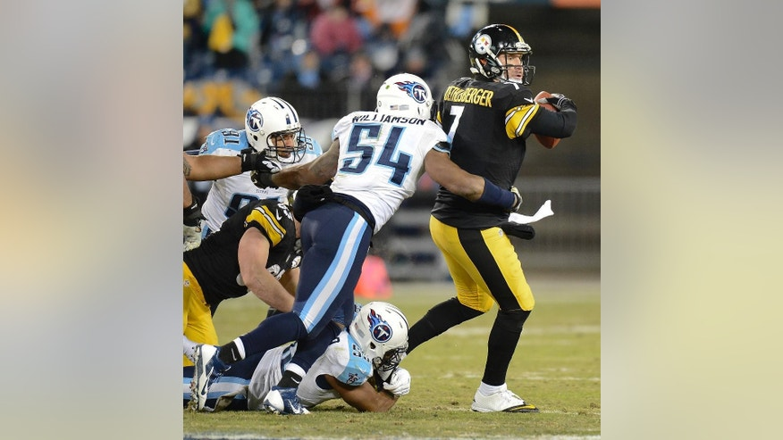 Tennessee Titans linebacker Avery Williamson (54) sacks Pittsburgh Steelers quarterback Ben Roethlisberger (7) for an 8-yard loss in the second half of an NFL football game Monday, Nov. 17, 2014, in Nashville, Tenn. (AP Photo/Mark Zaleski)