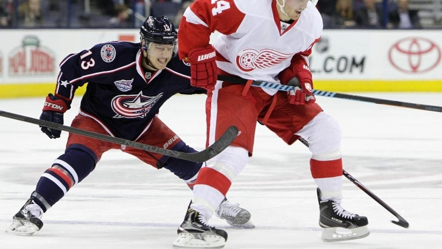 Columbus Blue Jackets' Cam Atkinson, left, tries to steal the puck from Detroit Red Wings' Gustav Nyquist, of Sweden, during the third period of an NHL hockey game Tuesday, Nov. 18, 2014, in Columbus, Ohio. The Red Wings beat the Blue Jackets 5-0. (AP Photo/Jay LaPrete)
