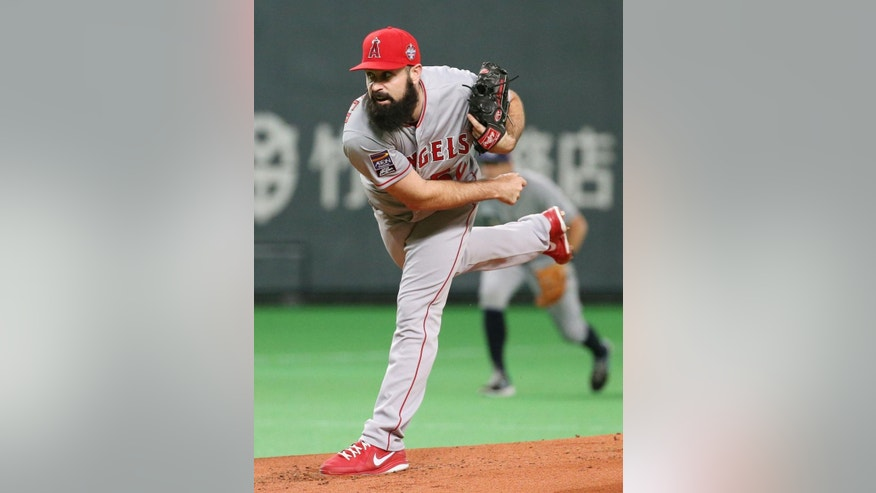 MLB All-Stars starter Matt Shoemaker pitches against Japan during Game-5 of their exhibition baseball series at Sapporo Dome in Sapporo, northern Japan, Tuesday, Nov. 18, 2014. (AP Photo/Kyodo News) JAPAN OUT, CREDIT MANDATORY