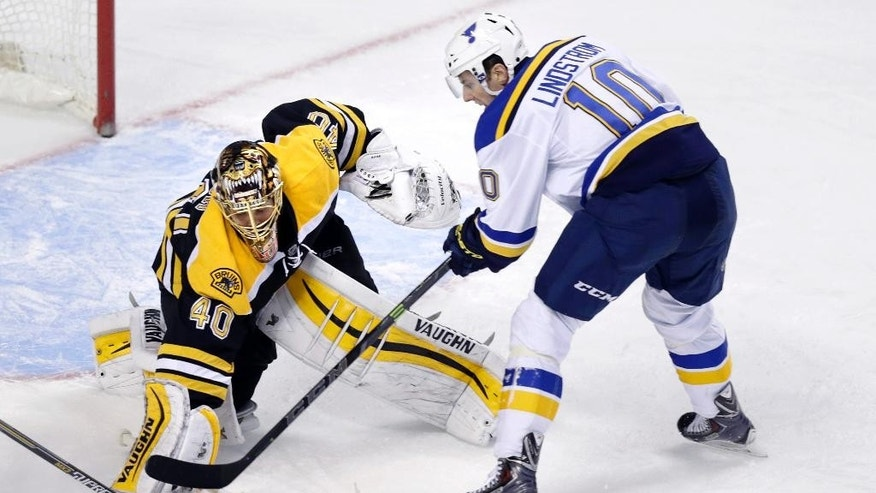 Boston Bruins goalie Tuukka Rask (40), of Finland, makes a save on a shot by St. Louis Blues left wing Joakim Lindstrom (10), of Sweden, during the third period of an NHL hockey game in Boston, Tuesday, Nov. 18, 2014. Rask shut out the Blues in a 2-0 win. (AP Photo/Charles Krupa)