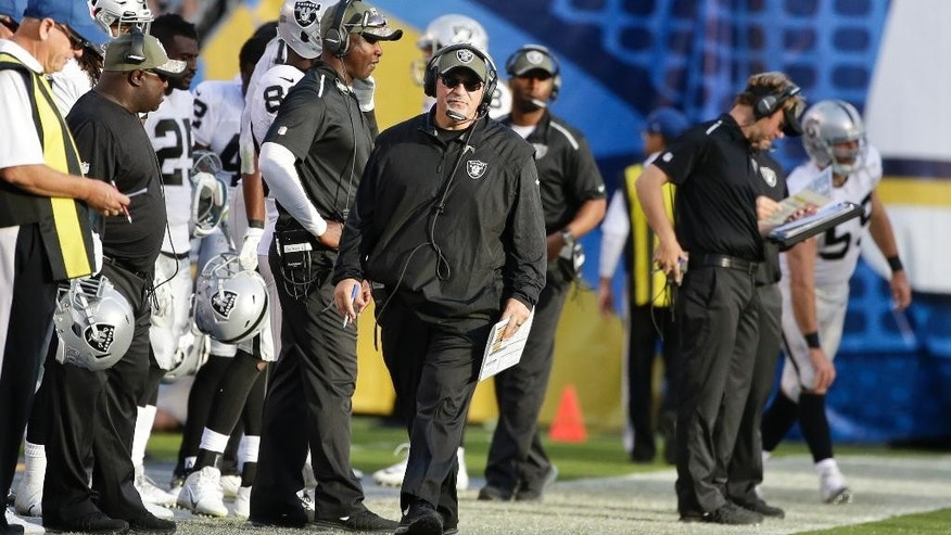 Oakland Raiders coach Tony Sparano paces the sidelines during the second half of an NFL football game against the San Diego Chargers Sunday, Nov. 16, 2014, in San Diego. (AP Photo/Gregory Bull