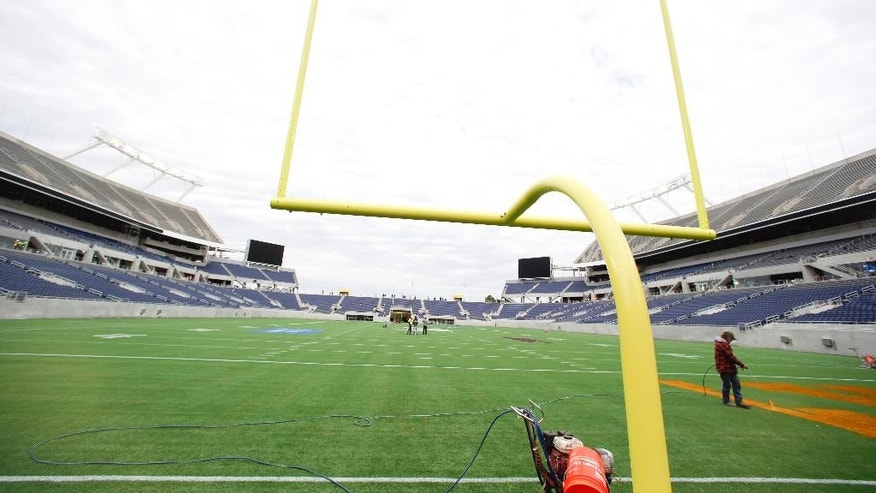 A view of the field of the new Citrus Bowl stadium is seen in Orlando, Fla., Wednesday, Nov. 19, 2014. Almost 10 months of renovations have increased the nearly 80-year-old stadium to a capacity to more than 65,000, while adding 6,000 club seats, 33 luxury suites and 10,000 square-foot party deck. (AP Photo/John Raoux)