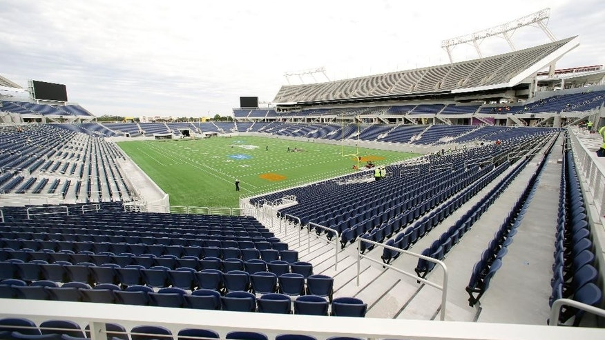 A view of the new Citrus Bowl stadium is seen in Orlando, Fla., Wednesday, Nov. 19, 2014. Almost 10 months of renovations have increased the nearly 80-year-old stadium to a capacity to more than 65,000, while adding 6,000 club seats, 33 luxury suites and 10,000 square-foot party deck. (AP Photo/John Raoux)