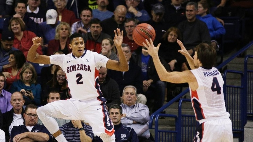 Gonzaga's Angel Nunez (2) passes the ball to Kevin Pangos during the first half of an NCAA college basketball game against Saint Joseph's in Spokane, Wash., Wednesday, Nov. 19, 2014. (AP Photo/Young Kwak)