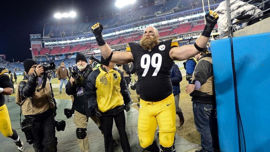 Pittsburgh Steelers defensive end Brett Keisel (99) leaves the field after the Steelers beat the Tennessee Titans 27-24 in an NFL football game Monday, Nov. 17, 2014, in Nashville, Tenn. (AP Photo/Mark Zaleski)