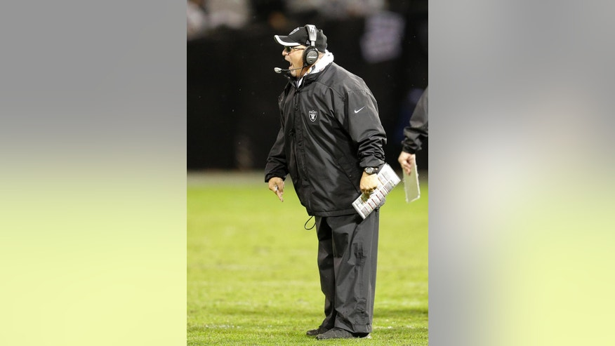 Oakland Raiders interim coach Tony Sparano yells during the third quarter of the Raiders' NFL football game against the Kansas City Chiefs in Oakland, Calif., Thursday, Nov. 20, 2014. (AP Photo/Ben Margot)
