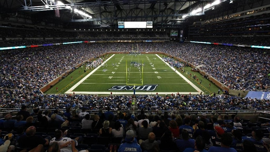 "FILE - In this Aug. 28, 2011, file photo, the Detroit Lions taken on the New England Patriots in an NFL preseason football game at Ford Field in Detroit. Snowed out in Buffalo, the Bills are heading to Detroit to play their ""home"" game against the New York Jets on Monday night, Nov. 24, 2014, the NFL announced Thursday, Nov. 20, 2014. (AP Photo/Paul Sancya, File)"