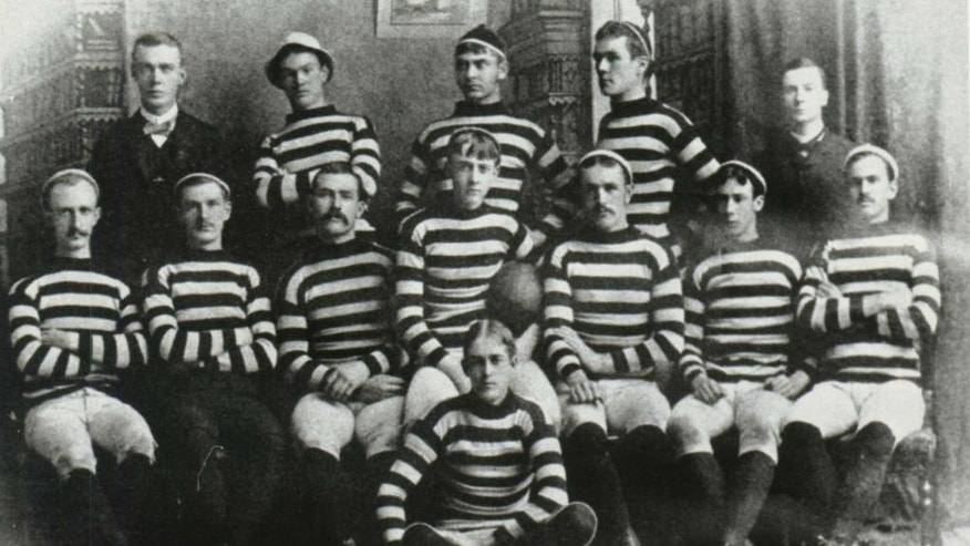 This photo provided by Lehigh University shows the school's 1884 football team. On Saturday, Nov. 22, 2014, Lehigh University will play Lafayette College for the 150th time, at Yankee Stadium in New York. (AP Photo/Special Collections Lehigh University)