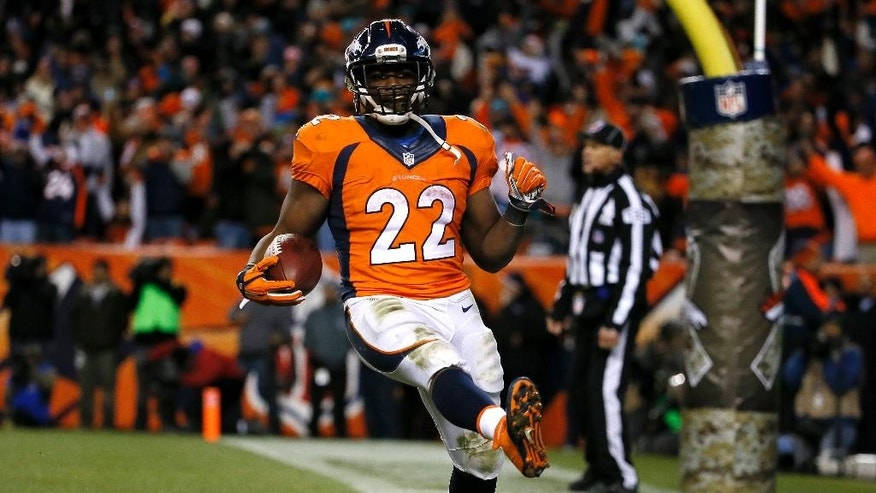Denver Broncos running back C.J. Anderson (22) celebrate his touchdown run against the Miami Dolphins during the second half of an NFL football game, Sunday, Nov. 23, 2014, in Denver. (AP Photo/Jack Dempsey)