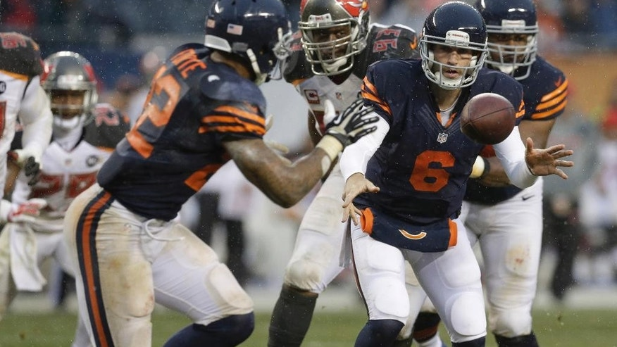 Chicago Bears quarterback Jay Cutler (6) pitches the ball to running back Matt Forte (22) during the second half of an NFL football game against the Tampa Bay Buccaneers Sunday, Nov. 23, 2014, in Chicago. The Bears won 21-13.(AP Photo/Nam Y. Huh)