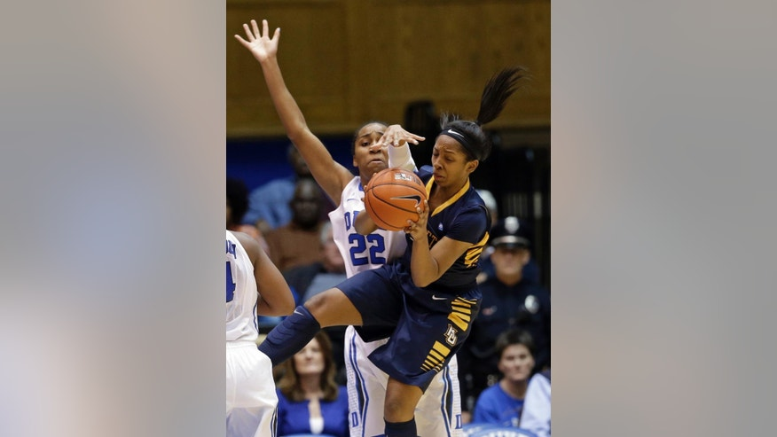 Duke's Oderah Chidom (22) pressures Marquette's Tia Elbert during the first half of an NCAA college basketball game in Durham, N.C., Sunday, Nov. 23, 2014. (AP Photo/Gerry Broome)