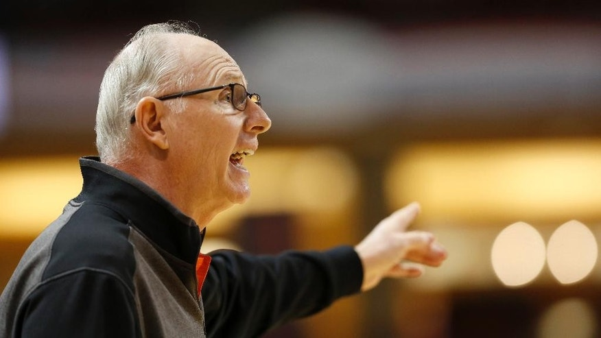Miami's head coach Jim Larranaga talks to his players during their game against Charlotte in the first half of the championship game at the Charleston Classic NCAA college basketball tournament in Charleston, S.C., Sunday, Nov. 23, 2014. (AP Photo/Mic Smith)