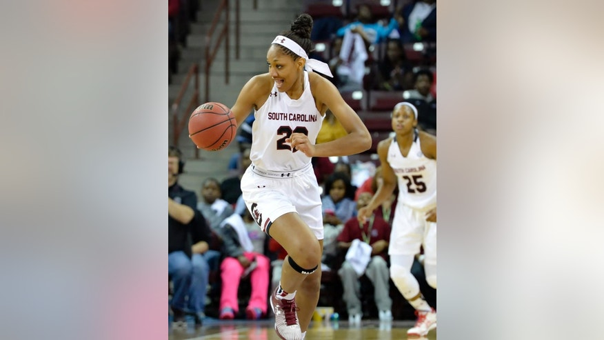 South Carolina's A'ja Wilson presses downcourt on a fast break during the first half of an NCAA college basketball game against San Diego State, Sunday, Nov. 23, 2014, in Columbia, S.C. (AP Photo/Richard Shiro)
