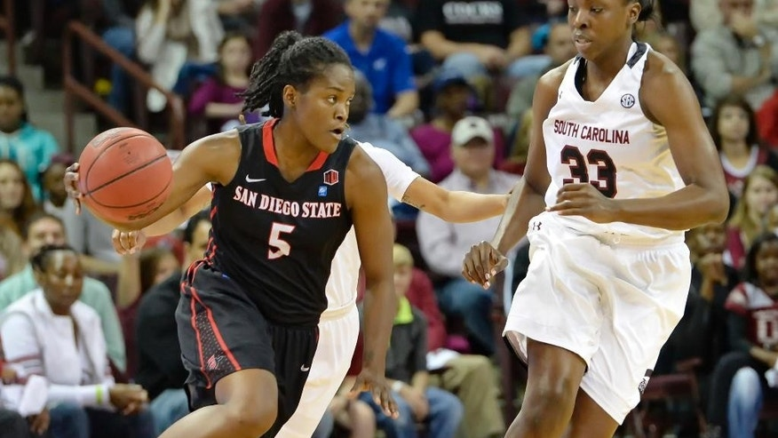 San Diego State's Chairese Culbertson, left, drives past South Carolina's Elem Ibiam during the first half of an NCAA college basketball game Sunday, Nov. 23, 2014, in Columbia, S.C.(AP Photo/Richard Shiro)