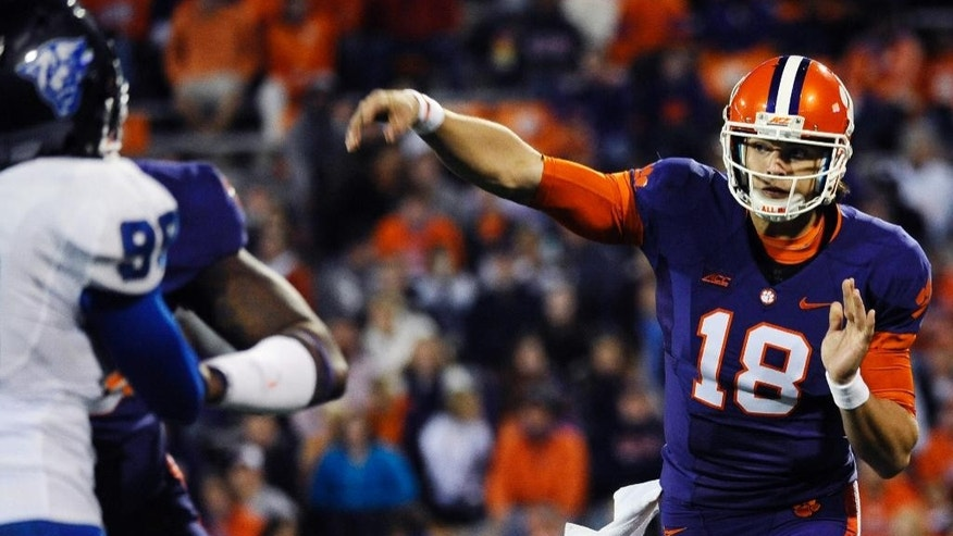 Clemson quarterback Cole Stoudt (18) throws against Georgia State during the second half of an NCAA college football game, Saturday, Nov. 22, 2014, in Clemson, S.C. Clemson won 28-0. (AP Photo/Rainier Ehrhardt)